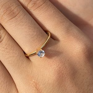 18 k gold plated solitaire ring
